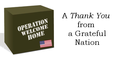 Operation Welcome Home Box with flag and thank you phrase
